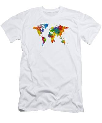 Map Of The World Map Watercolor Men's T-Shirt (Athletic Fit)