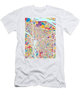 Portland Oregon City Map Men's T-Shirt (Athletic Fit)