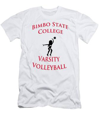 Men's T-Shirt (Athletic Fit) featuring the digital art Bimbo State College - Varsity Volleyball by Bill Cannon