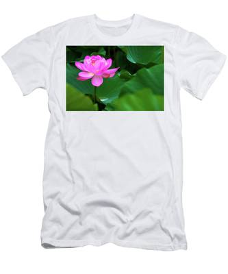 Men's T-Shirt (Athletic Fit) featuring the photograph Blooming Pink Lotus Lily by Dennis Dame