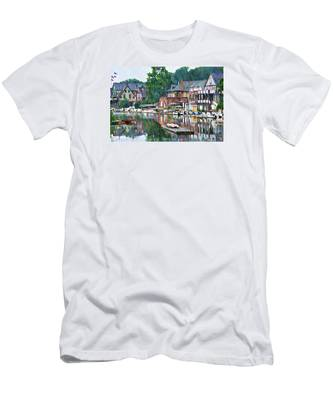 Men's T-Shirt (Athletic Fit) featuring the photograph Boathouse Row In Philadelphia by Bill Cannon