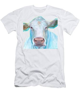 Charolais Cow Painting On White Background Men's T-Shirt (Athletic Fit)
