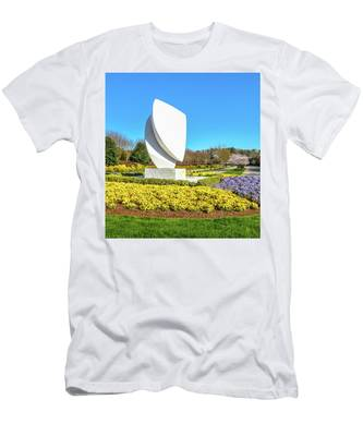 Men's T-Shirt (Athletic Fit) featuring the photograph Elements Sculpture At Christopher Newport University In Springtime by Ola Allen