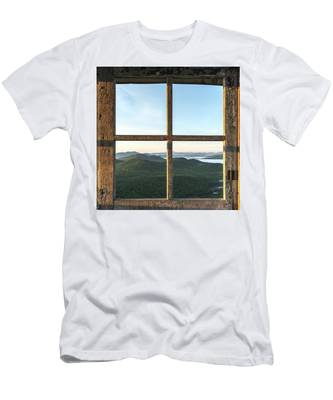 Men's T-Shirt (Athletic Fit) featuring the photograph Fire Tower Frame by Brad Wenskoski