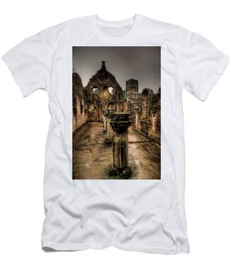 Men's T-Shirt (Athletic Fit) featuring the photograph Fountains Abbey In Pouring Rain by Dennis Dame