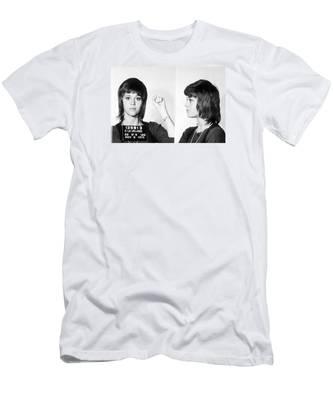 Jane Fonda Mug Shot Horizontal Men's T-Shirt (Athletic Fit)