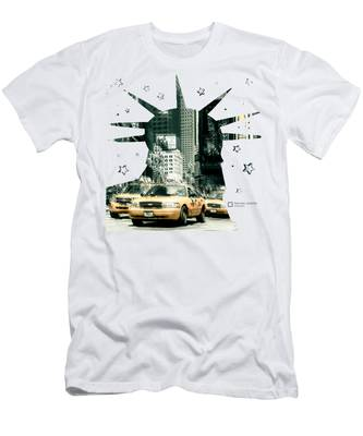Lady Liberty And The Yellow Cabs Men's T-Shirt (Athletic Fit)