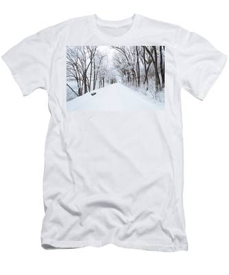 Lonely Snowy Road Men's T-Shirt (Athletic Fit)