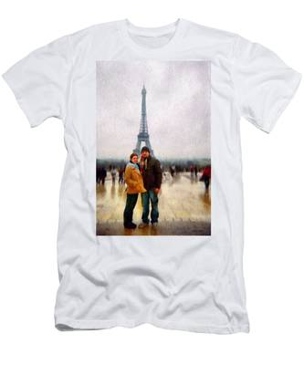 Winter Honeymoon In Paris Men's T-Shirt (Athletic Fit)