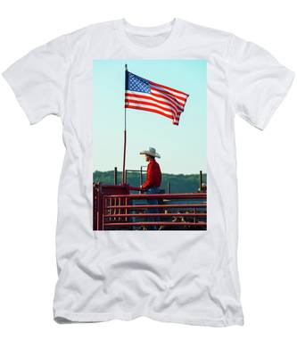 Men's T-Shirt (Athletic Fit) featuring the photograph Cowboy And American Flag by Dennis Dame
