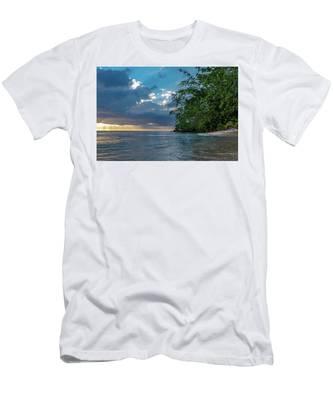Negril Beach Sunburst At Sunset Men's T-Shirt (Athletic Fit)