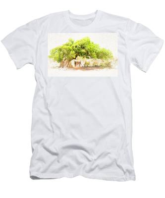 Old Leaning Tree At Sandy Hill  Anguilla Men's T-Shirt (Athletic Fit) by Ola Allen