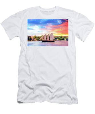 Men's T-Shirt (Athletic Fit) featuring the photograph Sails In The Wind At Sunset On The York River by Ola Allen