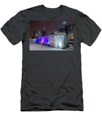Charlotte Queen City Skyline Near Romare Bearden Park In Winter Snow Men's T-Shirt (Athletic Fit)