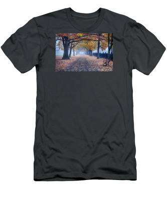 Men's T-Shirt (Athletic Fit) featuring the photograph A Walk In Salem Fog by Jeff Folger