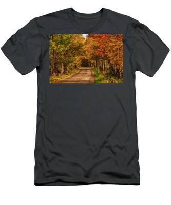 Fall Color Along A Dirt Backroad Men's T-Shirt (Athletic Fit) by Jeff Folger