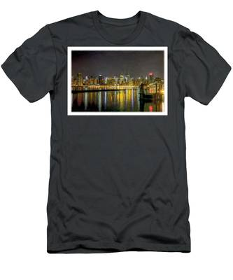 Nyc At Night Faux Oil Men's T-Shirt (Athletic Fit)