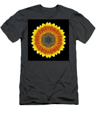 Orange And Yellow Sunflower Flower Mandala Men's T-Shirt (Athletic Fit)