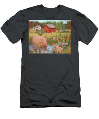Pigs And Lilies Men's T-Shirt (Athletic Fit)