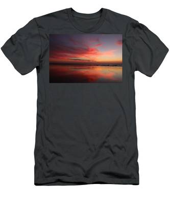 Men's T-Shirt (Athletic Fit) featuring the photograph Ocean Sunset Reflected  by Christy Pooschke