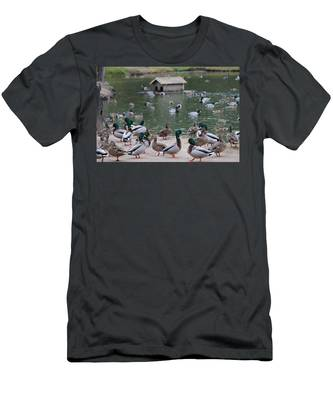 Men's T-Shirt (Athletic Fit) featuring the photograph Rainy Day Duck Party - 2  by Christy Pooschke