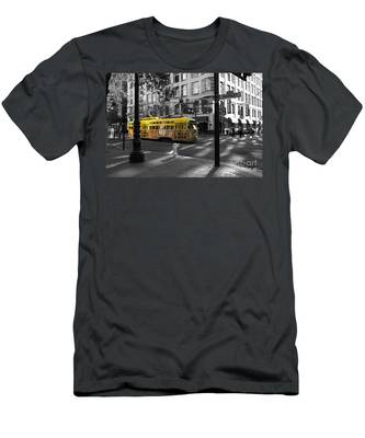 San Francisco Vintage Streetcar On Market Street - 5d19798 - Black And White And Yellow Men's T-Shirt (Athletic Fit)