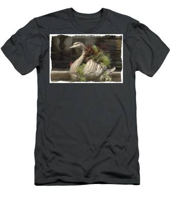 Swan With Beautiful Flowers Men's T-Shirt (Athletic Fit)