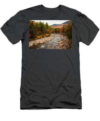 Men's T-Shirt (Athletic Fit) featuring the photograph Swift River Painted With Autumns Paint Brush by Jeff Folger