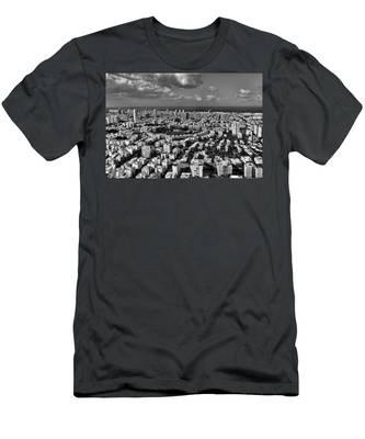 Tel Aviv Center Black And White Men's T-Shirt (Athletic Fit)