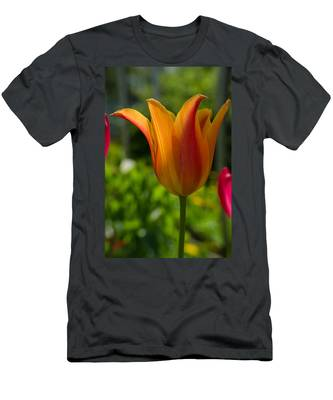 Tulip On The Green Background Men's T-Shirt (Athletic Fit) by Michael Goyberg