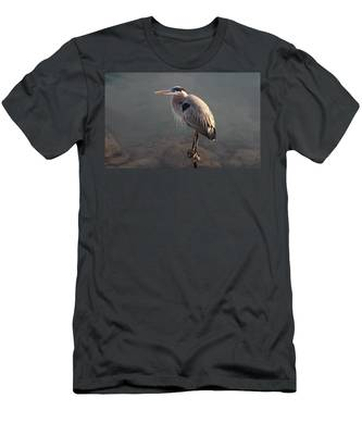 Men's T-Shirt (Athletic Fit) featuring the photograph Waiting Heron by Christy Pooschke