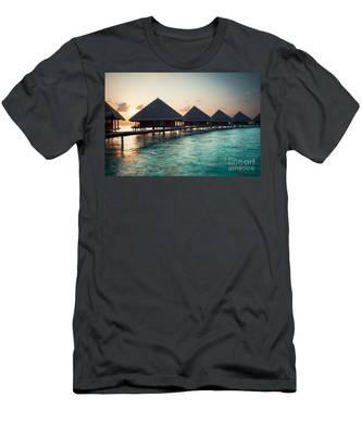 Waterbungalows At Sunset Men's T-Shirt (Athletic Fit)