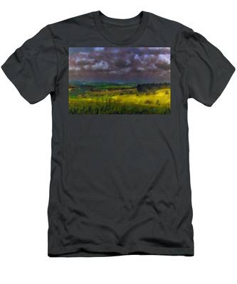 Men's T-Shirt (Athletic Fit) featuring the photograph Storm Clouds Over Meadow by Michael Goyberg