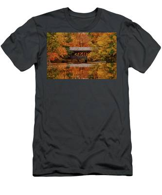 Men's T-Shirt (Athletic Fit) featuring the photograph Covered Bridge At Sturbridge Village by Jeff Folger