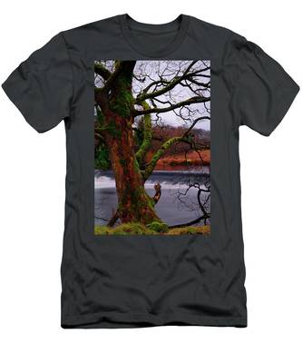 Men's T-Shirt (Athletic Fit) featuring the photograph Mossy Tree Leaning Over The Smooth River Wharfe by Dennis Dame