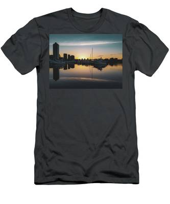 Men's T-Shirt (Athletic Fit) featuring the photograph Quayside Marina At Sunrise by Andy Konieczny