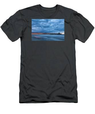 Before Sunrise At Folly Beach Pier, South Carolina Men's T-Shirt (Athletic Fit)