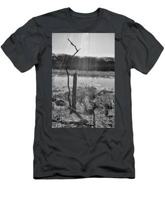 Black And White Bog Men's T-Shirt (Athletic Fit)