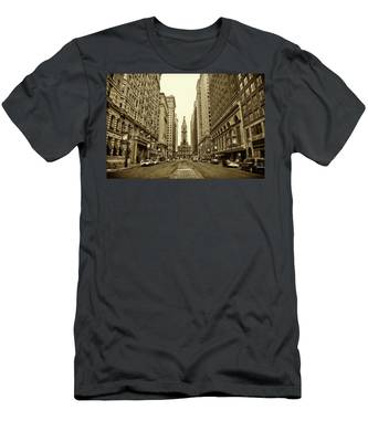Men's T-Shirt (Athletic Fit) featuring the photograph Broad Street Facing Philadelphia City Hall In Sepia by Bill Cannon