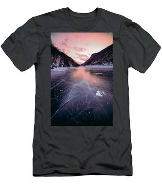 Men's T-Shirt (Athletic Fit) featuring the photograph Cascade Ice by Brad Wenskoski