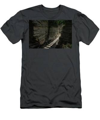 Men's T-Shirt (Athletic Fit) featuring the photograph Chasm Bridge by Brad Wenskoski