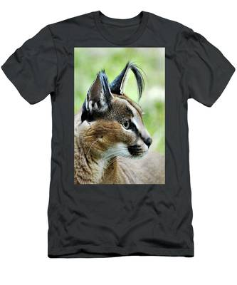 Men's T-Shirt (Athletic Fit) featuring the photograph Curious Caracal by Howard Bagley