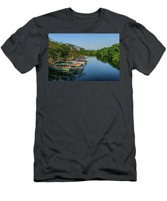 Boats By The River Men's T-Shirt (Athletic Fit)