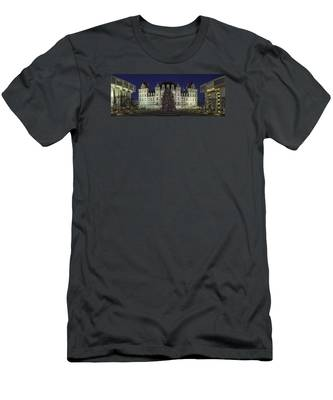 Men's T-Shirt (Athletic Fit) featuring the photograph Empire State Plaza Holiday by Brad Wenskoski