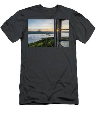 Men's T-Shirt (Athletic Fit) featuring the photograph Fire Tower Sunburst by Brad Wenskoski