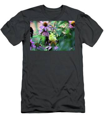 Goldfinch On Coneflowers Men's T-Shirt (Athletic Fit)