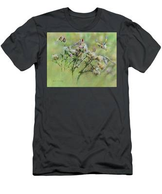 Goldfinches On Thistle Men's T-Shirt (Athletic Fit)
