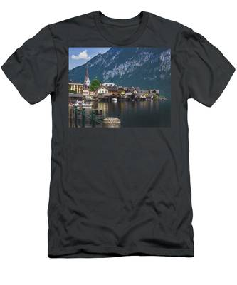 Hallstatt Lakeside Village In Austria Men's T-Shirt (Athletic Fit)