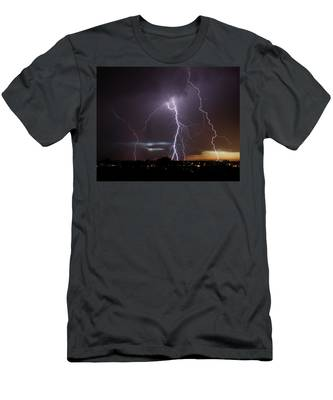 Men's T-Shirt (Athletic Fit) featuring the photograph Lightning At Dusk by Brad Wenskoski