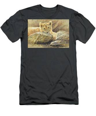 Lion Cub Study Men's T-Shirt (Athletic Fit)